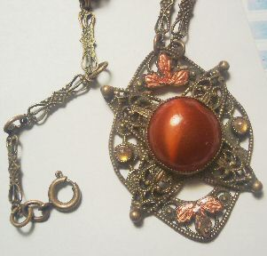 1920s Czech Glass Cabochon Necklace