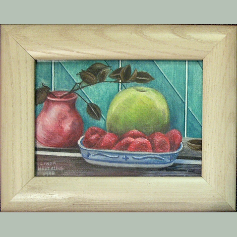 BERRIES AND GRANNY SMITH Colored Pencil by Linda Heberling