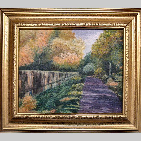 TOW PATH IN AUTUMN Oil Painting by Linda Heberling