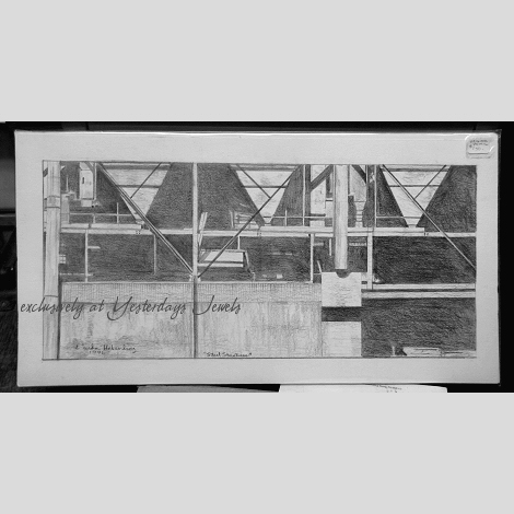 STEEL STRUCTURES Pencil Drawing by Linda Heberling