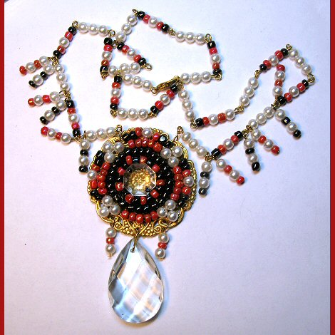 Prism Drop Hand Beaded Filigree Necklace