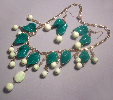 Glass Leaves Artisan Necklace and Earrings