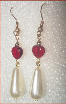 Red Glass and Faux Pearl Sweetheart Earrings