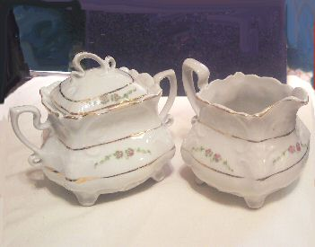 Bavaria Footed and Scalloped Creamer and Sugar