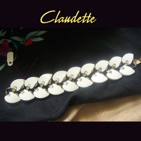 Claudette White Thermoset Bracelet