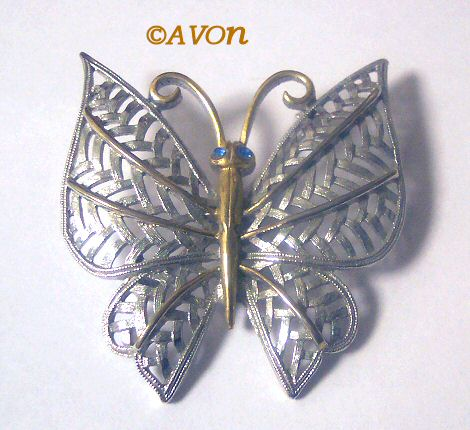 Avon Two-Tone Filligree Butterfly Pin