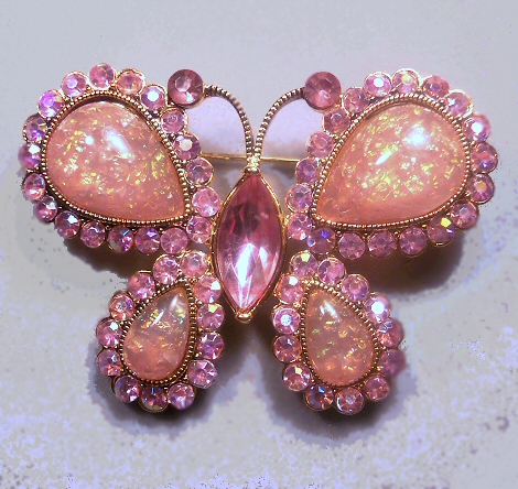 Confetti Lucite and Rhinestone Butterfly Brooch