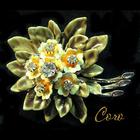 Coro Enameled Flower Pin with Rhinestones