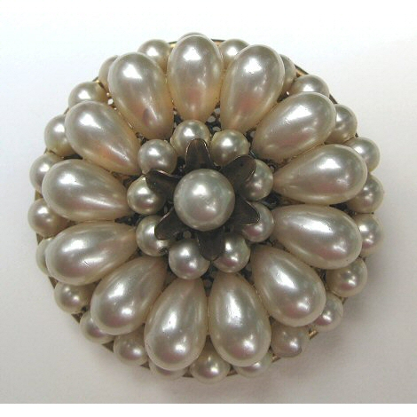 European Wired Glass Pearl Brooch