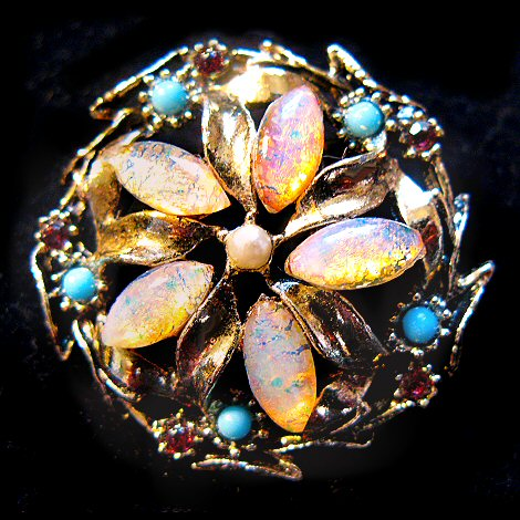 Opal Art Glass and Rhinestone Brooch