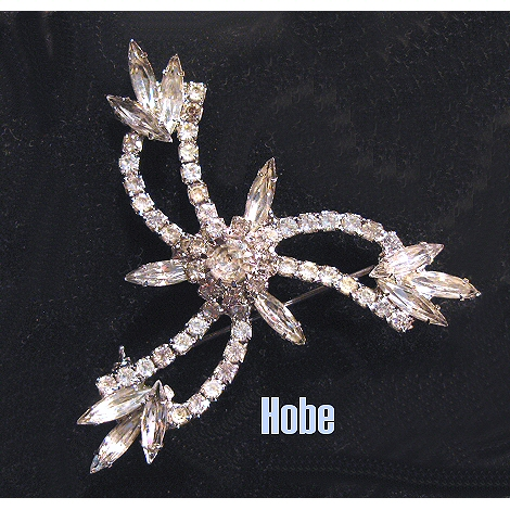 Hobe Diamente Brooch Signed