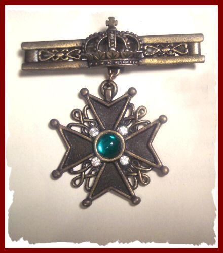 J.J. Maltese Cross and Crown Pin