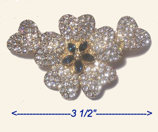 Extravagant Hearts and Flower Rhinestone Brooch