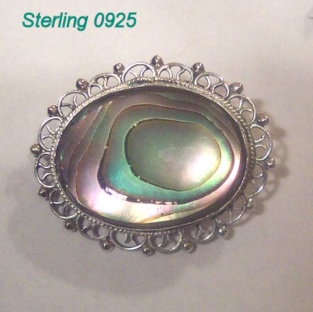Filigree Sterling and Abalone Brooch