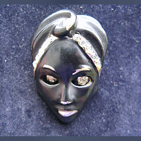 Man in Turban Brooch -- Moving Rhinestone Eyes