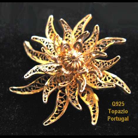 Topazio Portugal Vermeil Flower Brooch