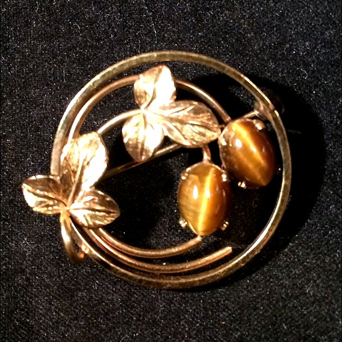 14K GF Wells Tiger Eye Brooch