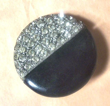 Art Deco Button with Handset Rhinestones