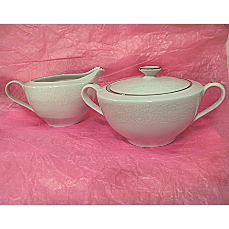 Noritake Rose China Creamer and Sugar with Lid