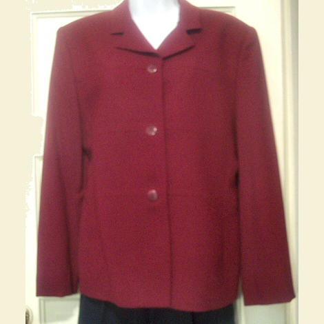 Jones New York Maroon Wool Jacket Sz 12