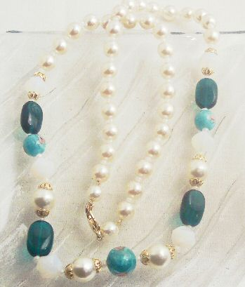 Green Glass and Taupe Glass Pearl Demi-Parure
