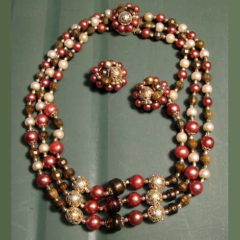 Triple Strand Bead Necklace and Earrings