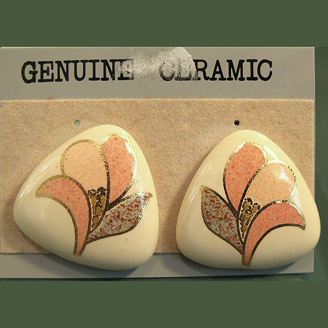 Glazed Ceramic Earrings NOS