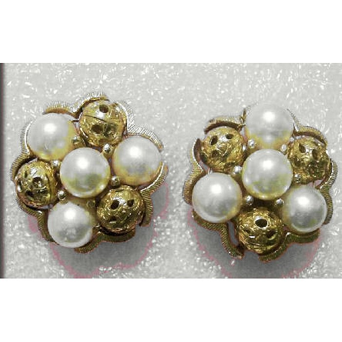 Faux Pearl and Filigree Bead Earrings