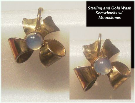 Lovely Old Vermeil and Moonstone Earrings