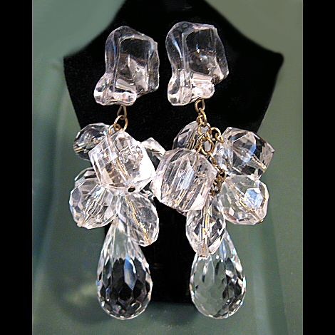 Chunky Lucite Ice and Prism Shoulder Duster Earrings