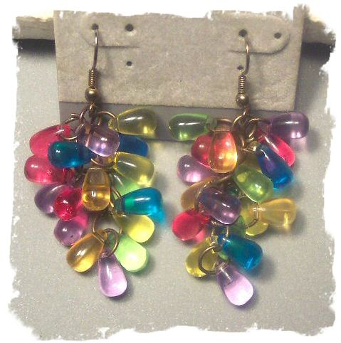 Pastel Rainbow Lucite Earrings