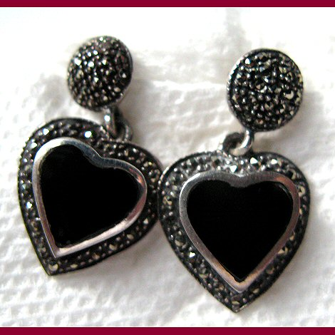 Marcasite and Onyx Dangling Heart Earrings