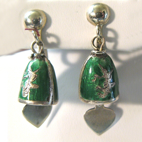 Nielloware Siam Green Enamel Earrings