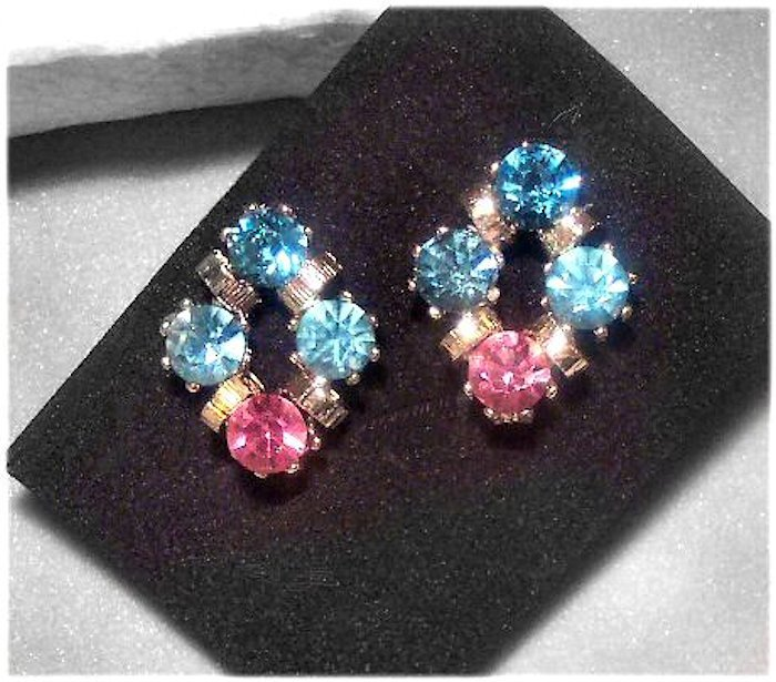 Brilliant Rhinestone Blue and Pink Clip Earrings