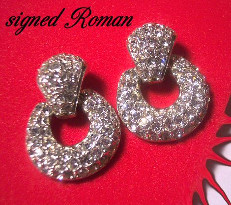 Pave Rhinestone Earrings by Roman