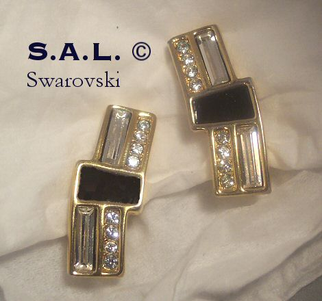 Swarovski SAL Rhinestone and Enamel Earrings
