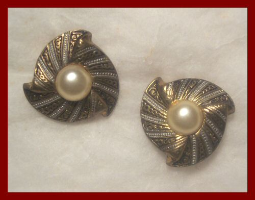 Spanish Toledo Earrings with Faux Pearls