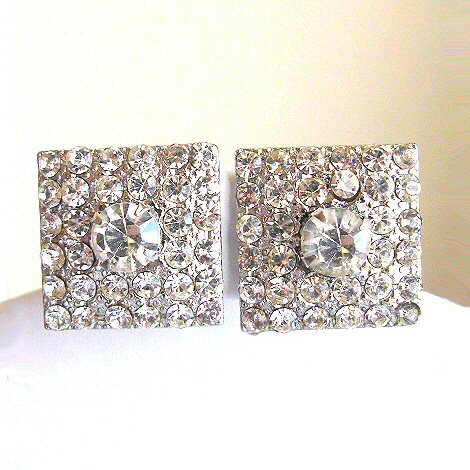 Dazzling Clear Rhinestone Earrings