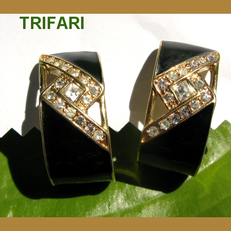 Trifari Black Enamel and Rhinestone Hoop Earrings