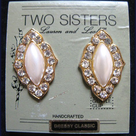 Two Sisters Dressy Classic Rhinestone and Glass Pearl Earrings