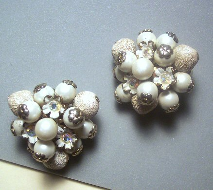 Bouncy Hobe Style White Bead Earrings