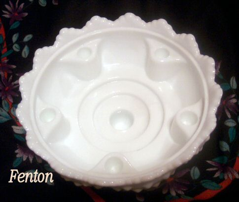 Fenton Hobnail Candle Bowl Milk Glass