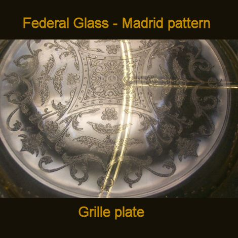 Federal Glass Madrid Amber Grille Plate MOVED TO TIAS
