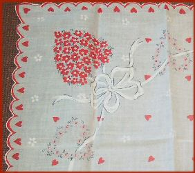 Hearts and Flowers Valentine Hanky