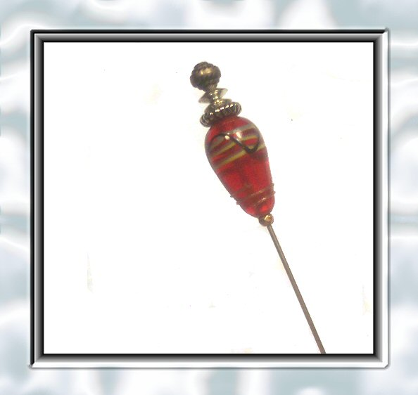 Red Lampwork Vintage Glass Hatpin