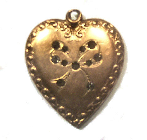 Victorian Embossed Gold Filled Heart Pendant