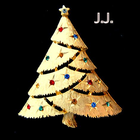 J.J. Christmas Tree Brooch