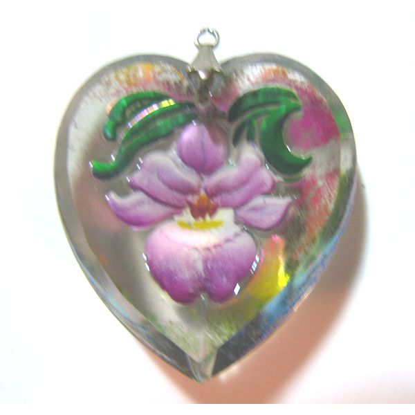 Reverse Painted Orchid in HeartGlass Pendant