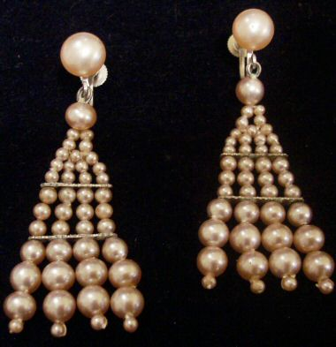 Old Faux Pearl Earrings - Japan