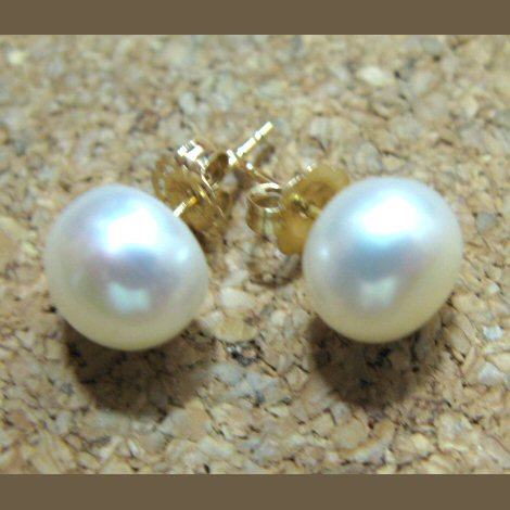 14K Gold And Freshwater Pearl Stud Earrings